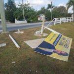 Suspect drunk driver ploughs into political board